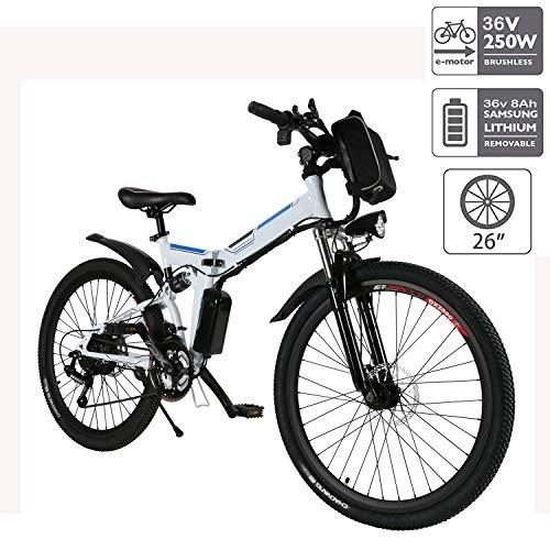 """Hiriyt E-Bike Mountainbike, 250W, 36V, Rücken 7-Gang Getriebesystem Faltrad Fahrrad, Große Kapazität Pedelec mit Lithium-Akku und Ladegerät (Weiß,26"""")"""